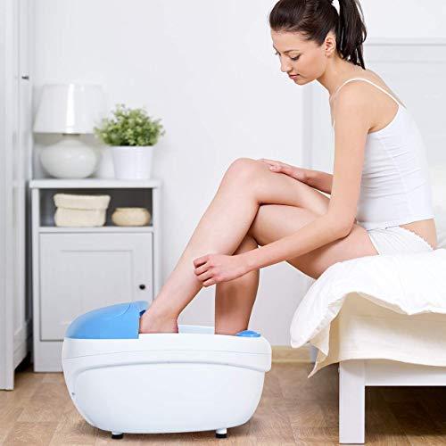 Giantex Foot Bath Massager Spa, Warm Heat Bubbles 4-Head Electric Handheld Pedicure Scrubber Removable Cover Vibration Massage,