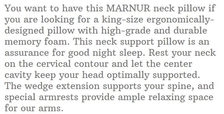 19. MARNUR Cervical Contour Memory Foam Pillow