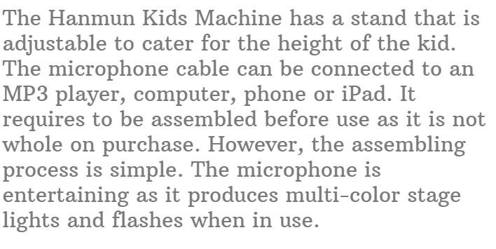 17.HANMUN Kids Karaoke Machine Microphone with Stand