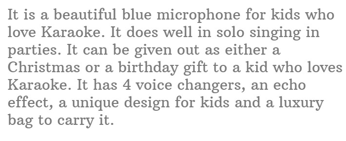 #11.KaraoKing Wireless Karaoke Microphone for Kids