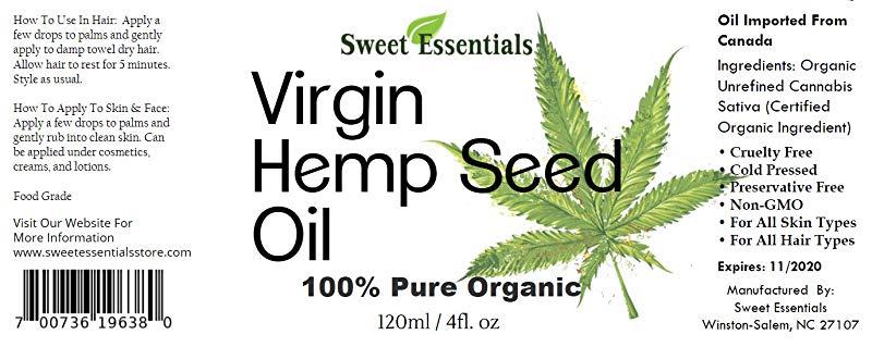Sweet Essentials Organic Extra Virgin Unrefined Hemp Seed Oil